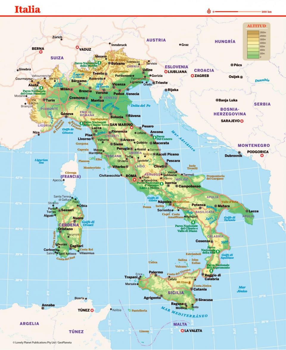Mapa de Italia para preparar tu viaje a Italia de la forma más sencilla.