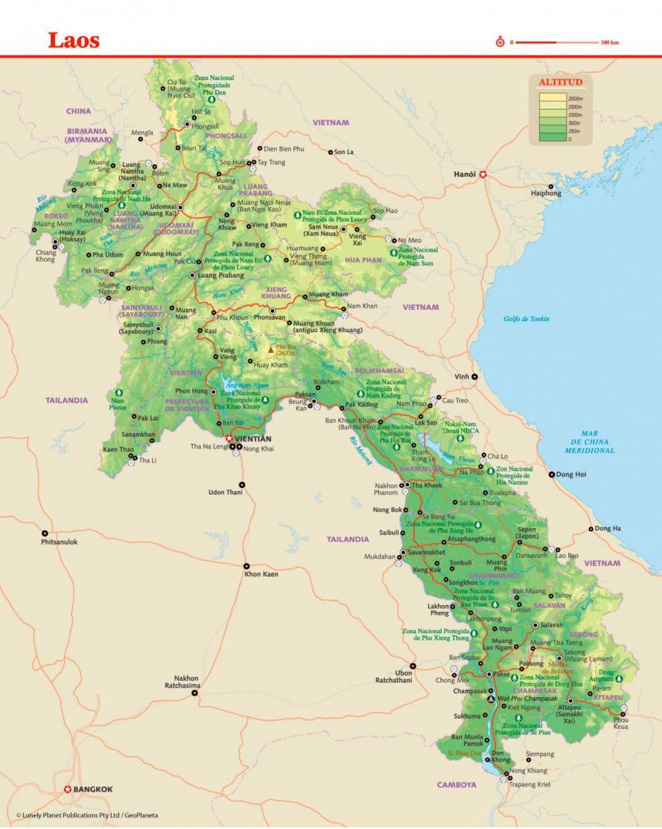 Mapa de Laos para preparar tu viaje a Laos de la forma más sencilla.