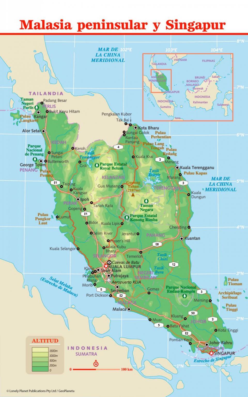 Mapa de Malasia para preparar tu viaje a Malasia de la forma más sencilla.