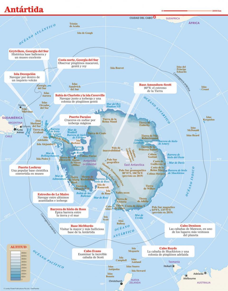 Mapa de Antártida para preparar tu viaje a Antártida de la forma más sencilla.
