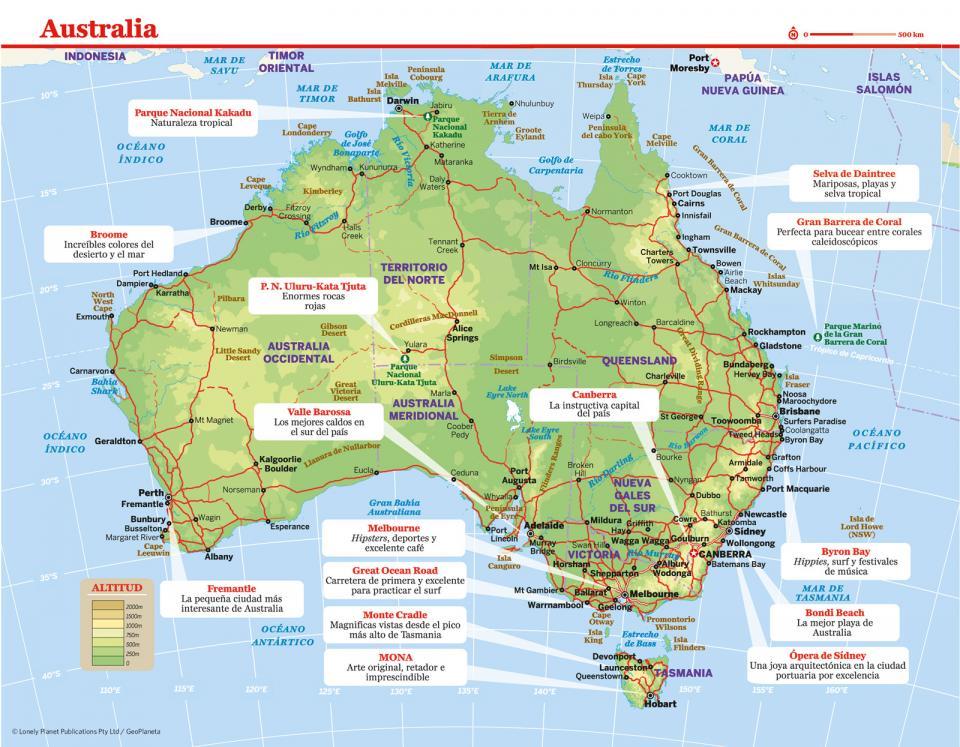 Mapa de Australia para preparar tu viaje a Australia de la forma más sencilla.