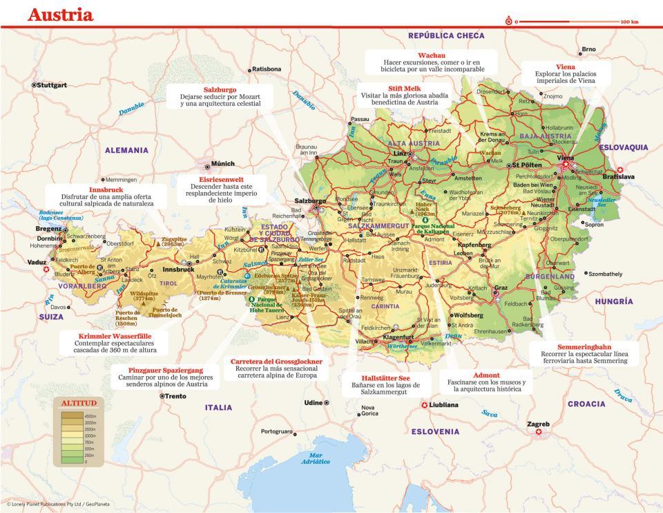 Mapa de Austria para preparar tu viaje a Austria de la forma más sencilla.
