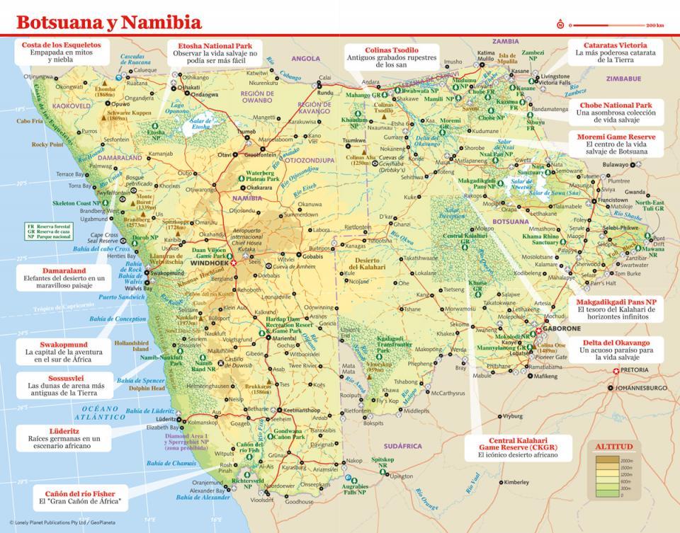 Mapa de Botsuana y Namibia para preparar tu viaje a Namibia de la forma más sencilla.