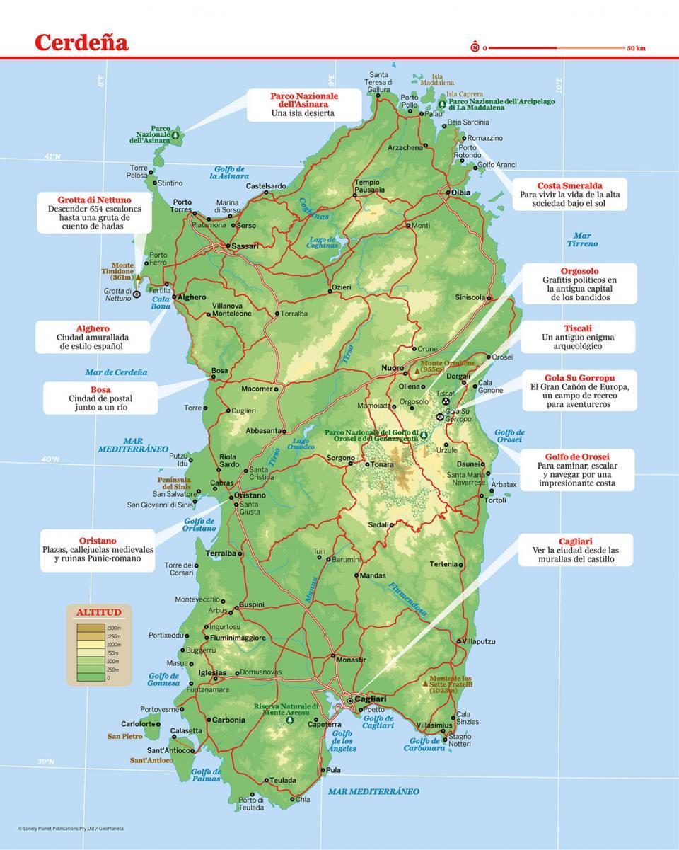 Mapa de Cerdeña para preparar tu viaje a Cerdeña de la forma más sencilla.