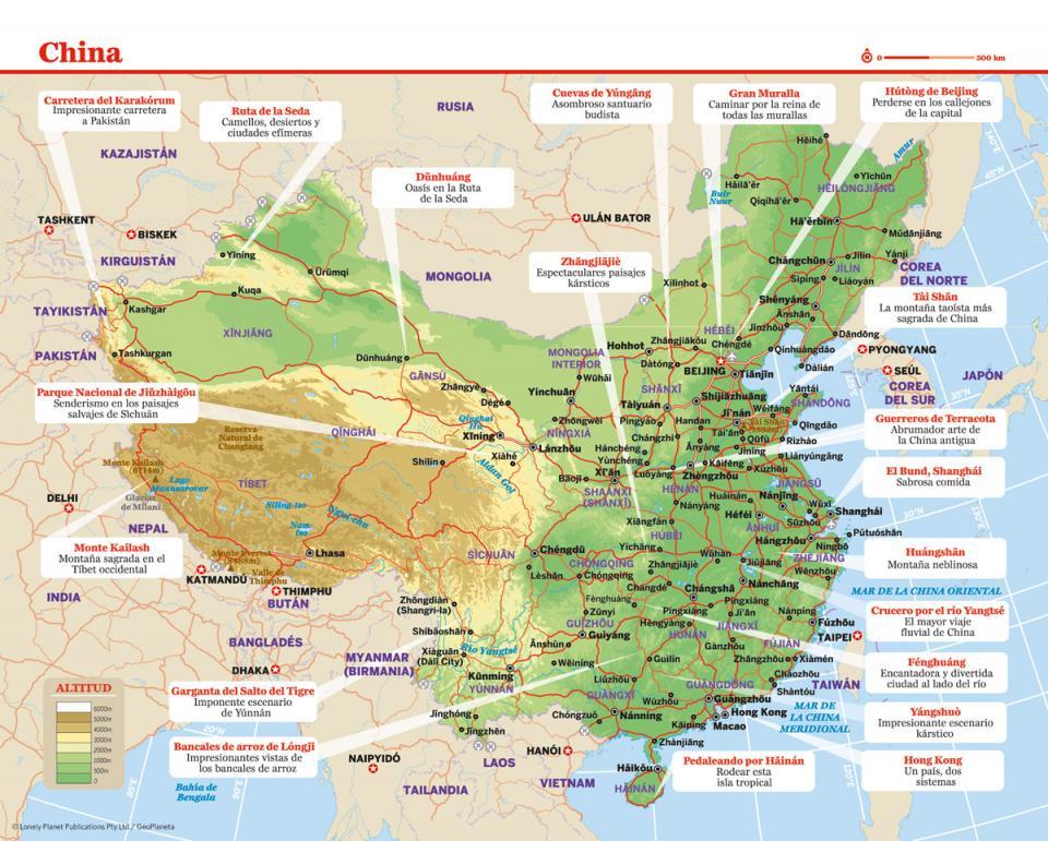 Mapa de China para preparar tu viaje a China de la forma más sencilla.