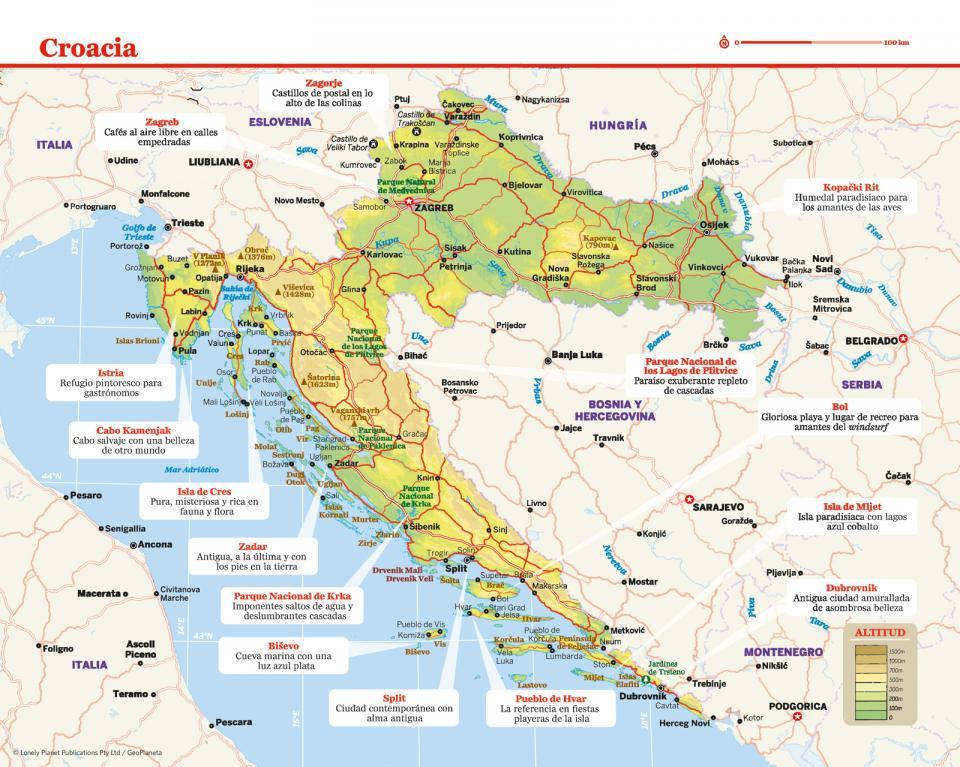 Mapa de Croacia para preparar tu viaje a Croacia de la forma más sencilla.