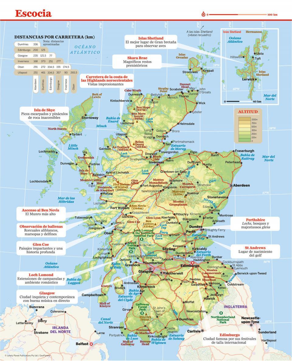 Mapa de Escocia para preparar tu viaje a Escocia de la forma más sencilla.