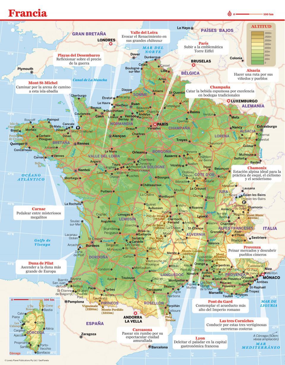 Mapa de Francia para viajar a Francia de la forma más sencilla.
