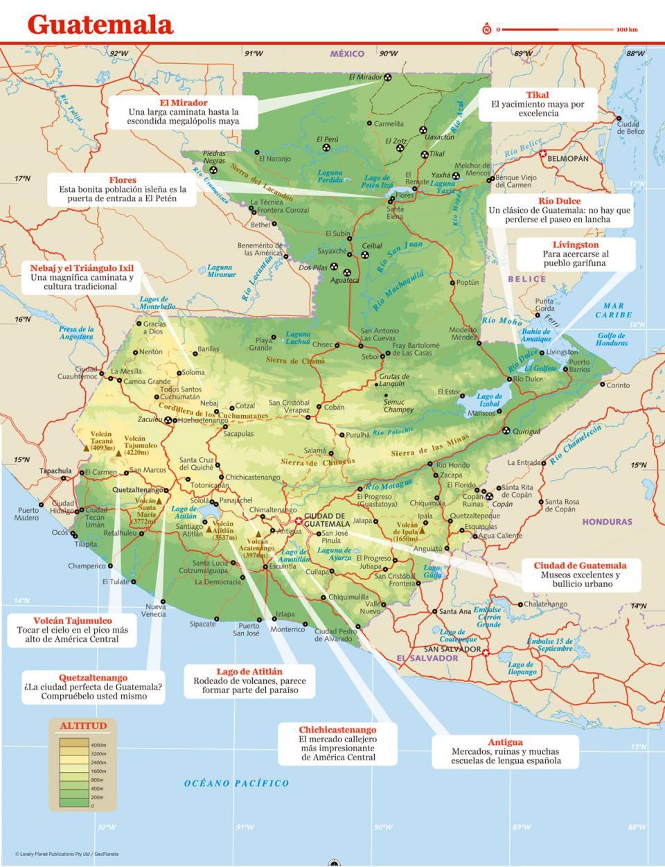 Mapa de Guatemala para preparar tu viaje a Guatemala de la forma más sencilla.