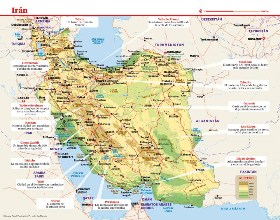 Mapa de Irán para preparar tu viaje a Irán de la forma más sencilla