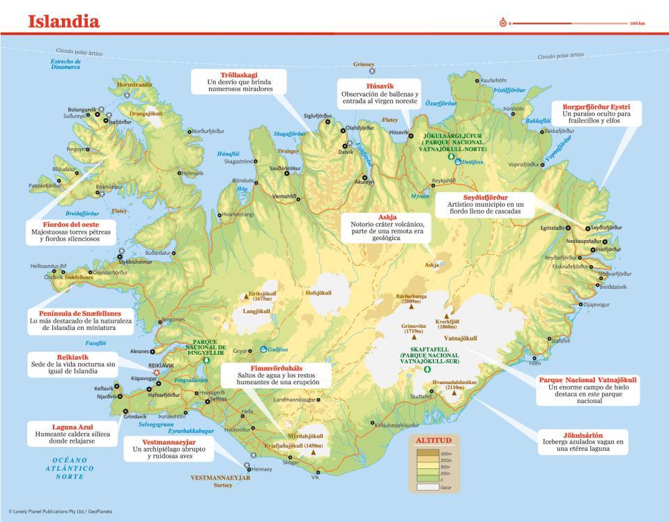 Mapa de Islandia para preparar tu viaje a Islandia de la forma más sencilla.