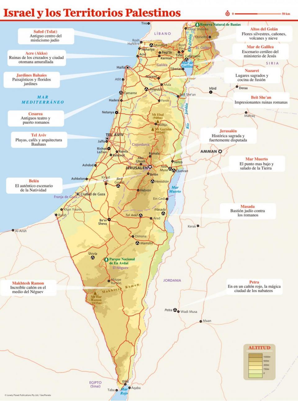 Mapa de Israel y los Territorios Palestinos para preparar tu viaje a Israel y los Territorios Palestinos de la forma más sencilla.