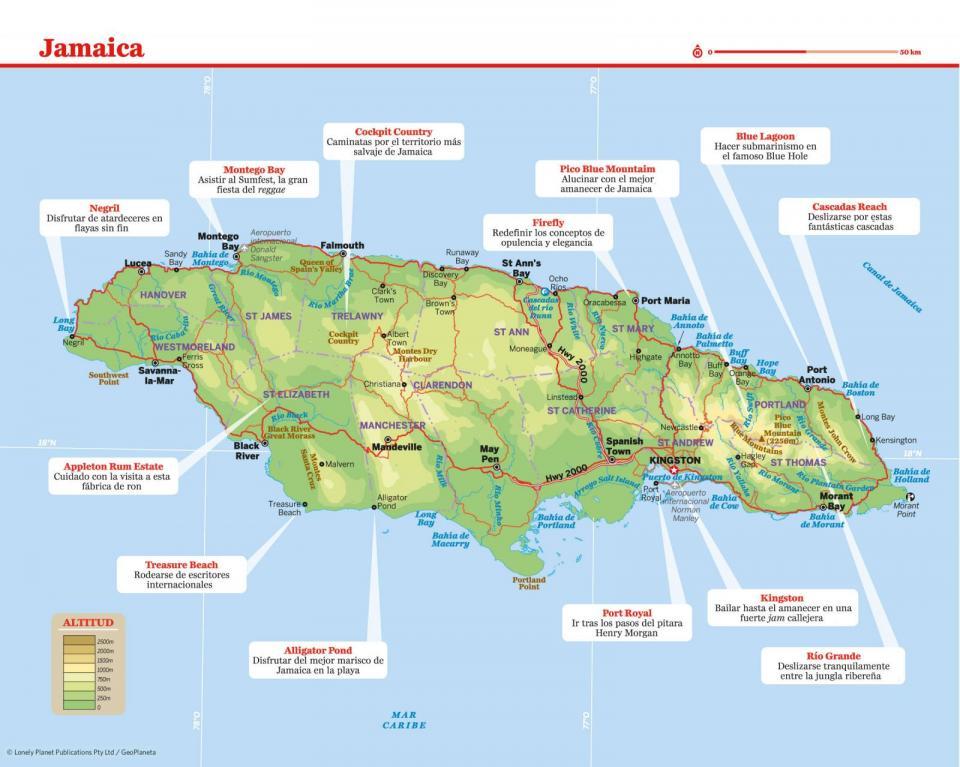 Mapa de Jamaica para preparar tu viaje a Jamaica de la forma más sencilla.