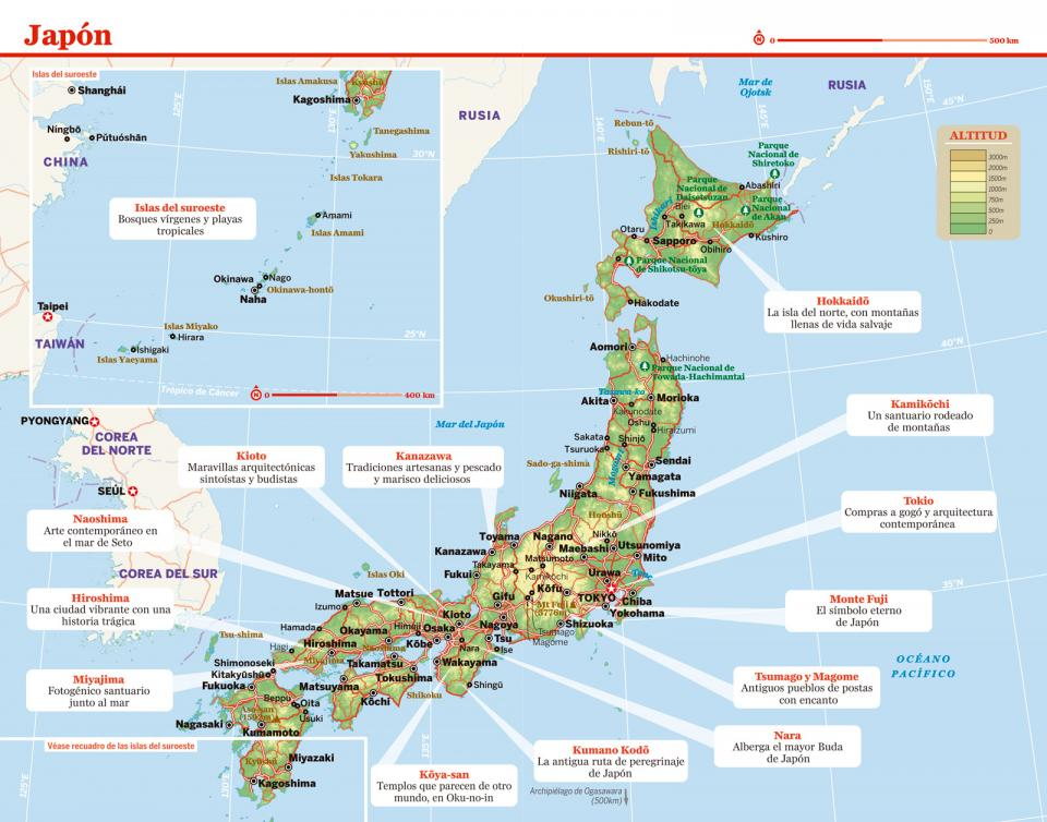 Mapa de Japón para preparar tu viaje a Japón de la forma más sencilla.