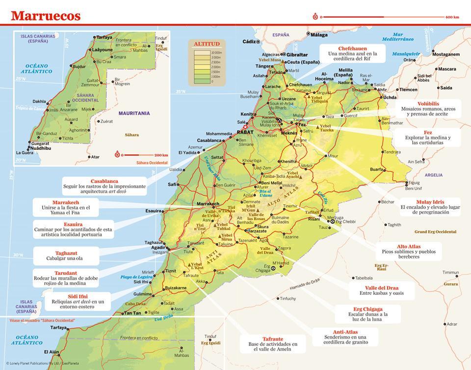 Mapa de Marruecos para preparar tu viaje a Marruecos de la forma más sencilla.