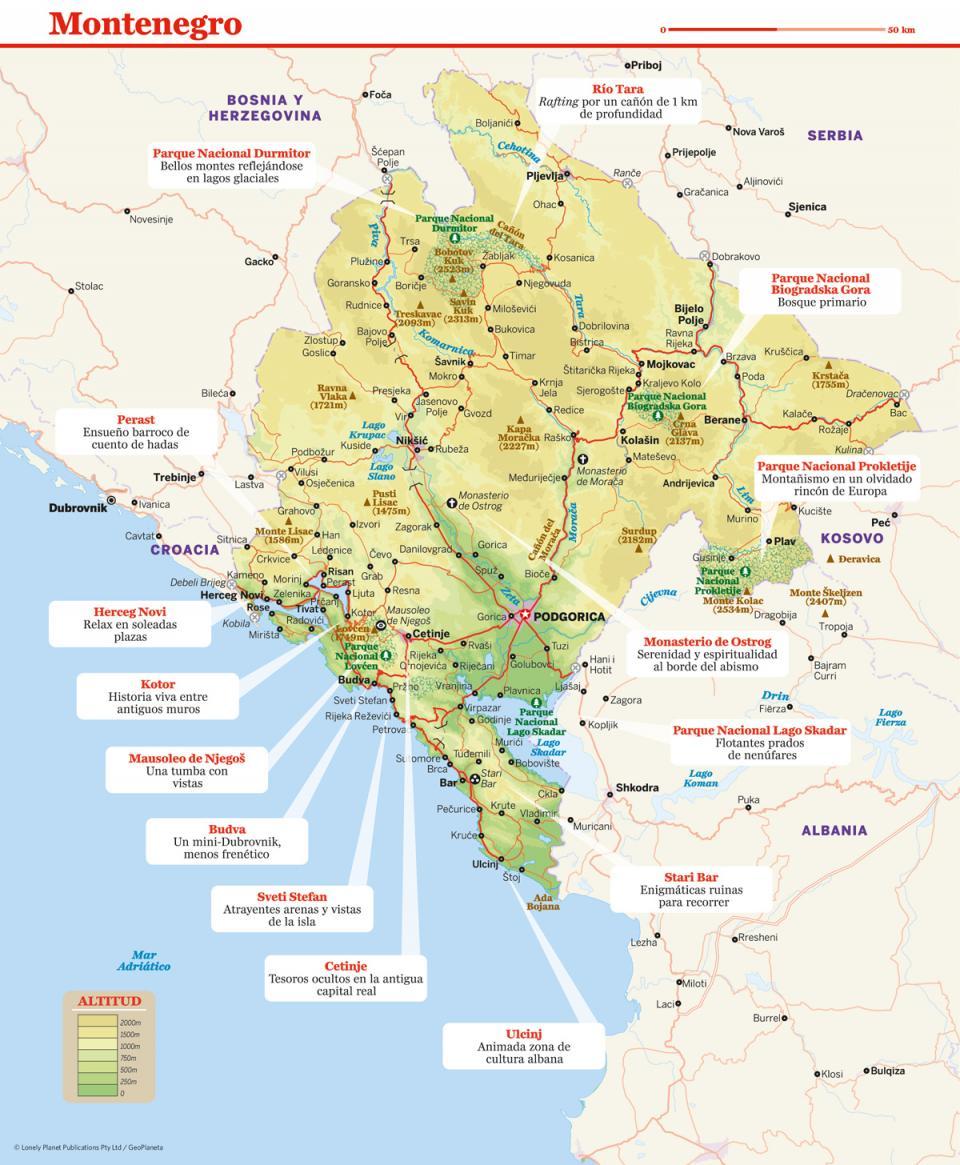 Mapa de Montenegro para preparar tu viaje a Montenegro de la forma más sencilla.