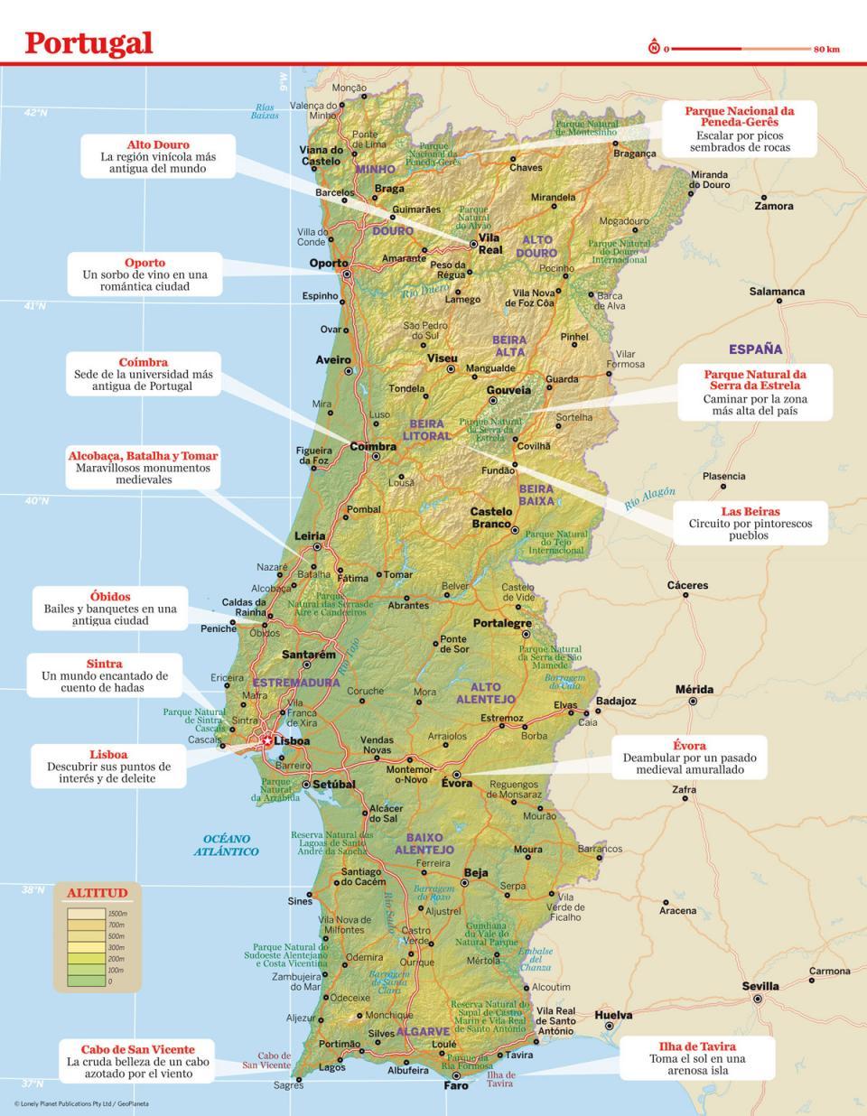 Mapa de Portugal para preparar tu viaje a Portugal de la forma más sencilla.