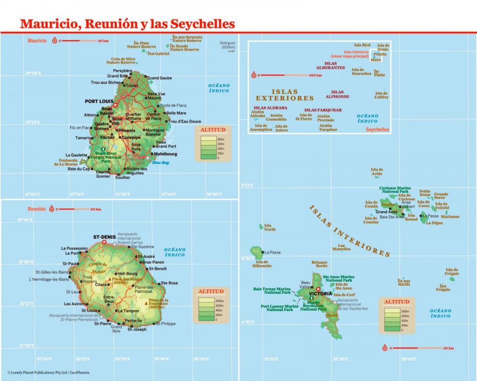 Mapa de Mauricio para preparar tu viaje a Mauricio de la forma más sencilla.