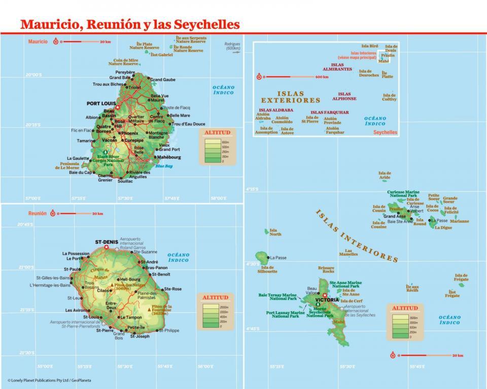 Mapa de Seychelles para preparar tu viaje a Seychelles de la forma más sencilla.