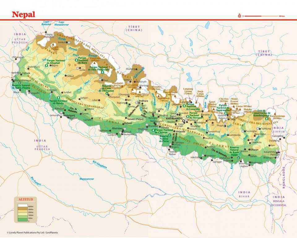 Mapa de Nepal para preparar tu viaje a Nepal de la forma más sencilla.