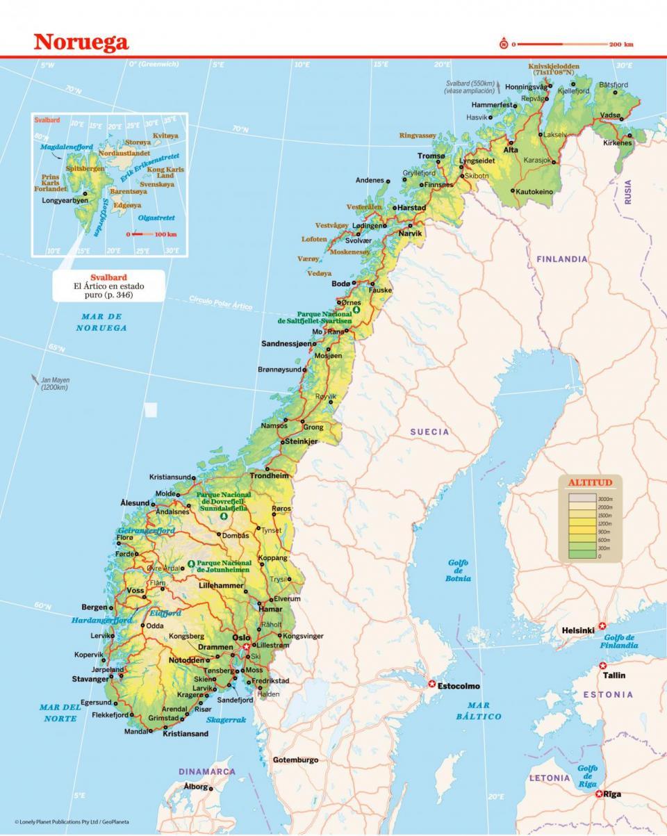 Mapa de Noruega para que organices mejor tu viaje a Noruega
