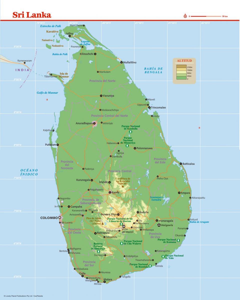 Mapa de Sri Lanka para preparar tu viaje a Sri Lanka de la forma más sencilla.