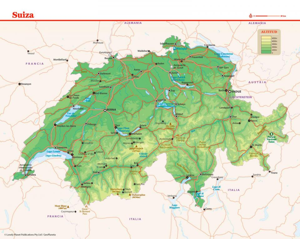 Mapa de Suiza para preparar tu viaje a Suiza de la manera más sencilla.