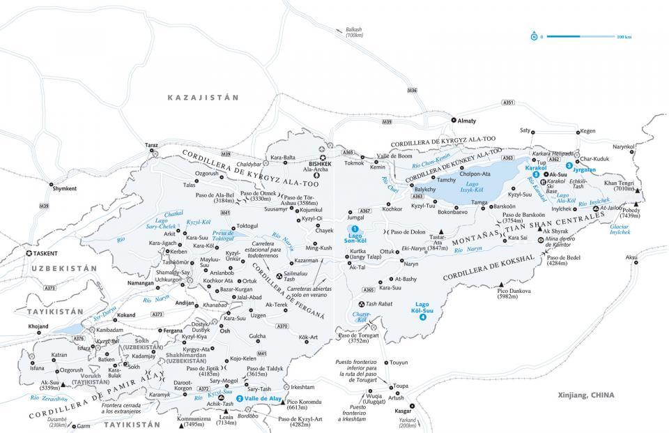 Mapa de Kirguistán para preparar tu viaje a Kirguistán de la forma más sencilla