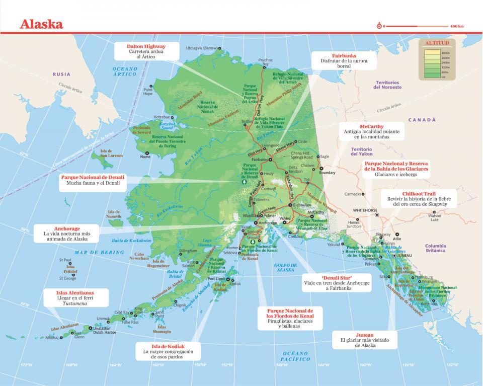 Mapa de Alaska para preparar tu viaje a Alaska de la forma más sencilla.