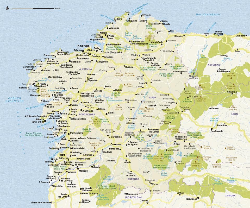 Mapa de Galicia para preparar tu viaje a Galicia de la forma más sencilla.