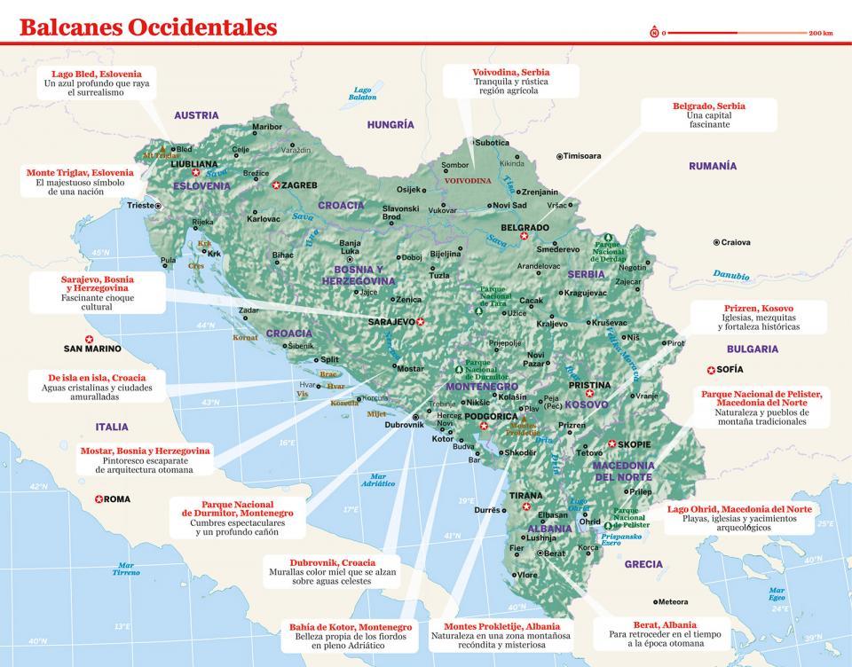Mapa de los Balcanes Occidentales para preparar tu viaje a Serbia de la forma más sencilla.