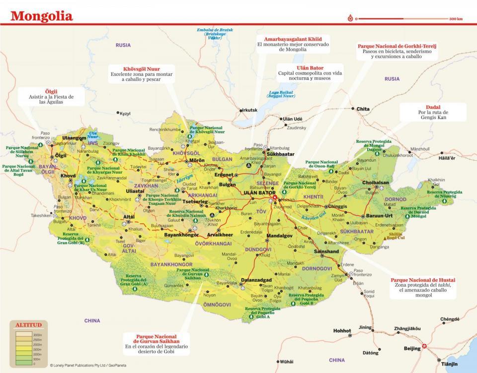 Mapa de Mongolia para preparar tu viaje a Mongolia de la forma más sencilla