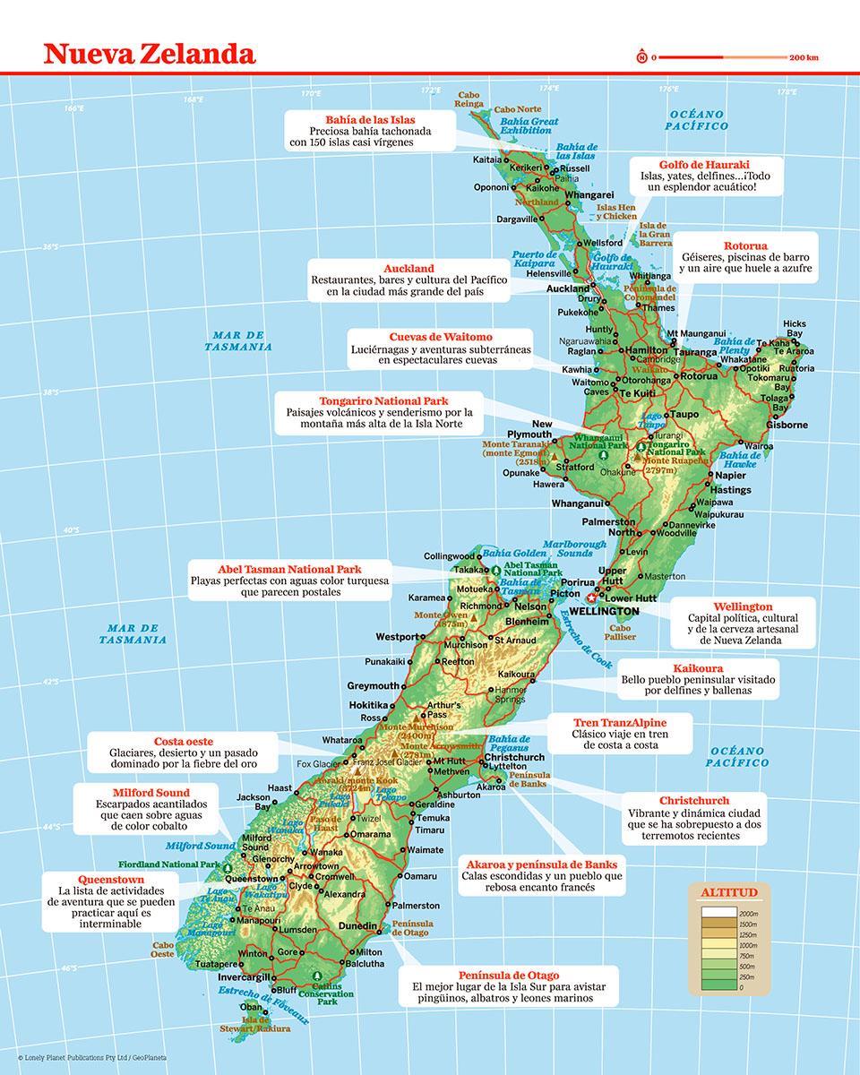 Mapa de Nueva Zelanda para preparar tu viaje a Nueva Zelanda de la forma más sencilla
