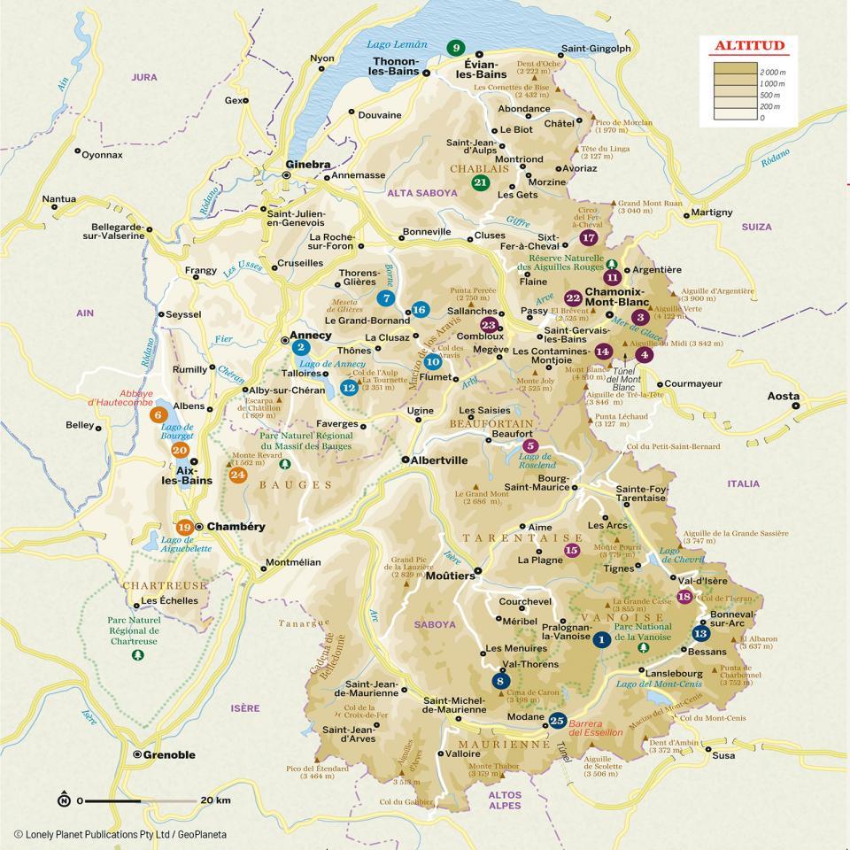 Mapa de Saboya y Mont Blanc para preparar tu viaje de la forma más sencilla.