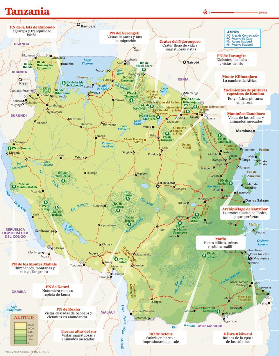 Mapa de Tanzania para preparar tu viaje a Tanzania de la forma más sencilla