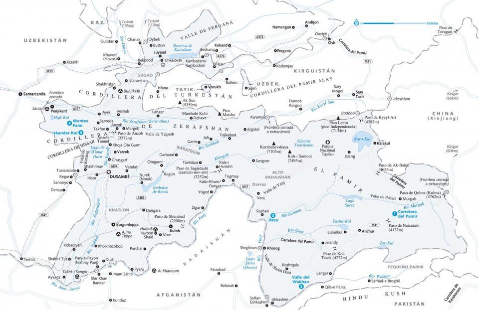 Mapa de Tayikistán para preparar tu viaje a Tayikistán de la forma más sencilla