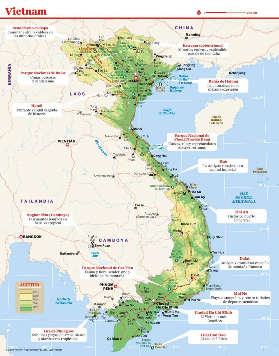 Mapa de Vietnam para preparar tu viaje a Vietnam de la forma más sencilla