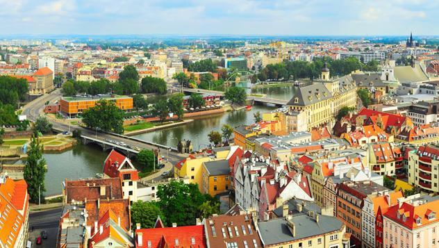 Vista panorámica de Breslavia desde la catedral de San Juan Bautista, Polonia