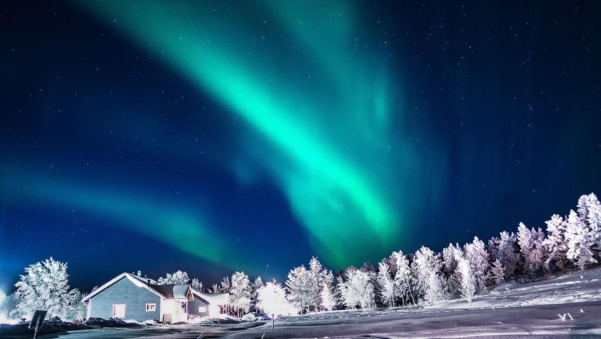 Aurora boreal en Finlandia, Laponia