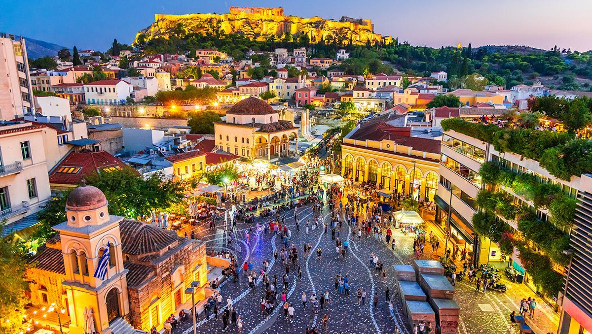 Calles de Monastiraki y la Acrópolis, Atenas, Grecia