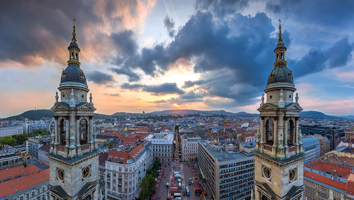 Vistas de Budapest desde una terraza, Hungría
