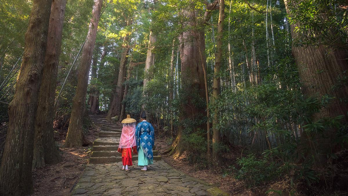 Peregrinos en Kumano Kodo, Wakayama, Japón
