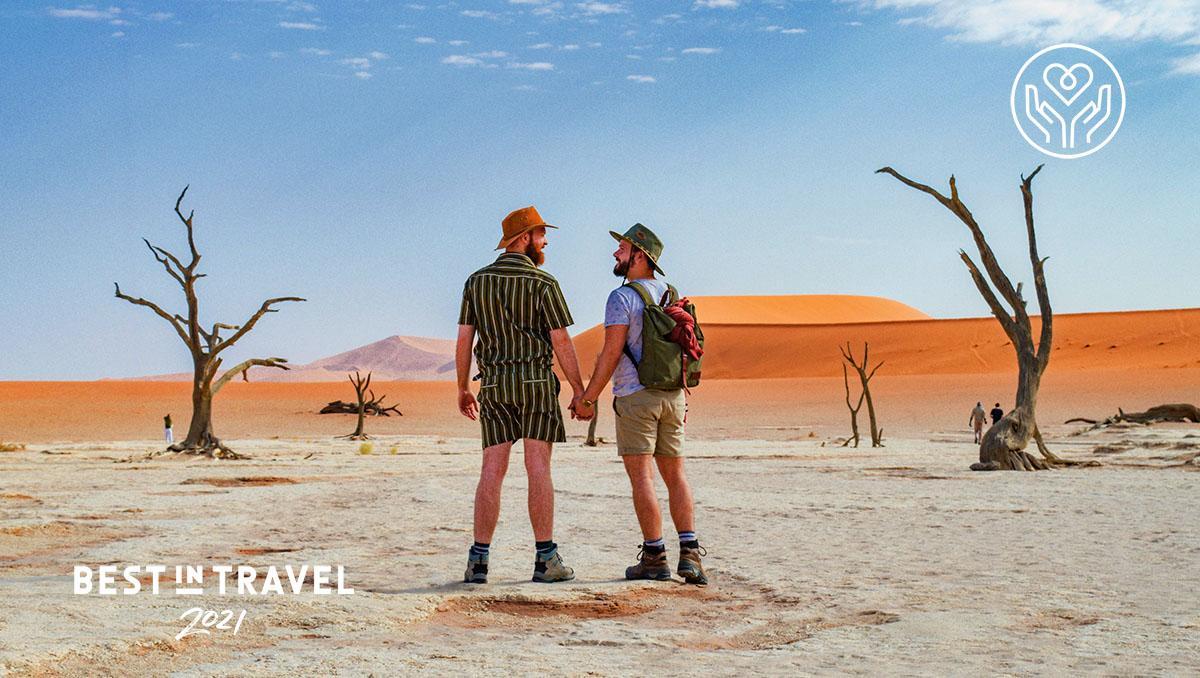 Turismo sostenible: Daan (izda.) and Karl (dcha.) en el desierto de Sossuvlei, en Namibia