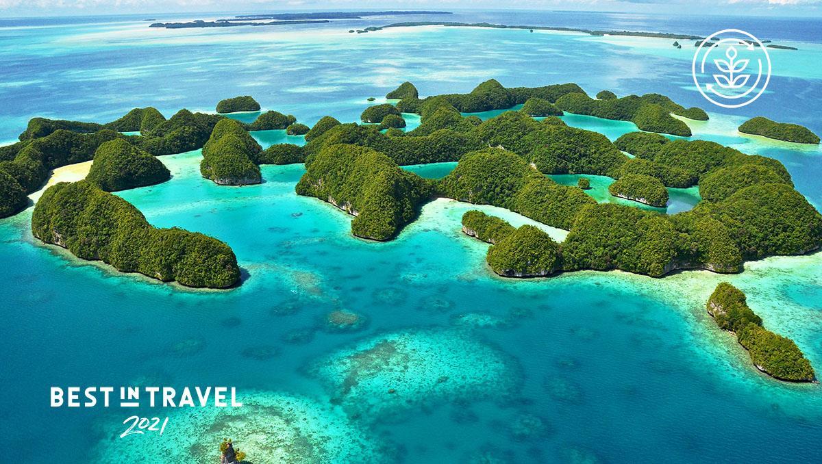 Turismo sostenible: vista de la Laguna Sur de Rock Islands, Palaos