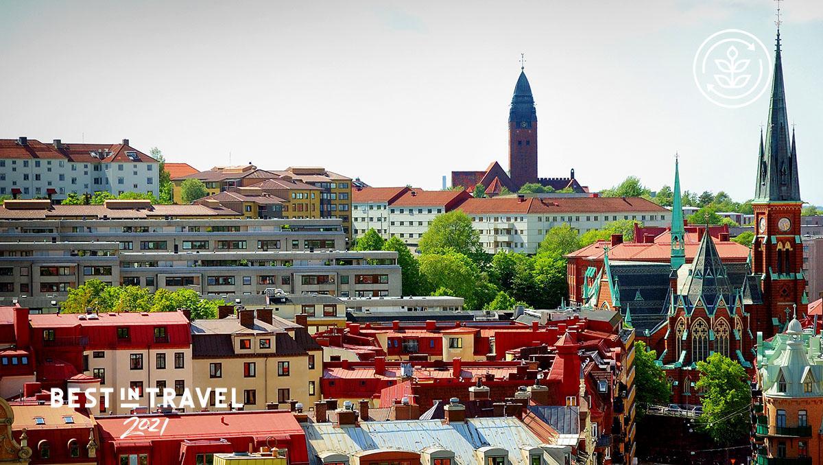 Turismo sostenible: los tejados de Linnestaden, Gotemburgo, Suecia