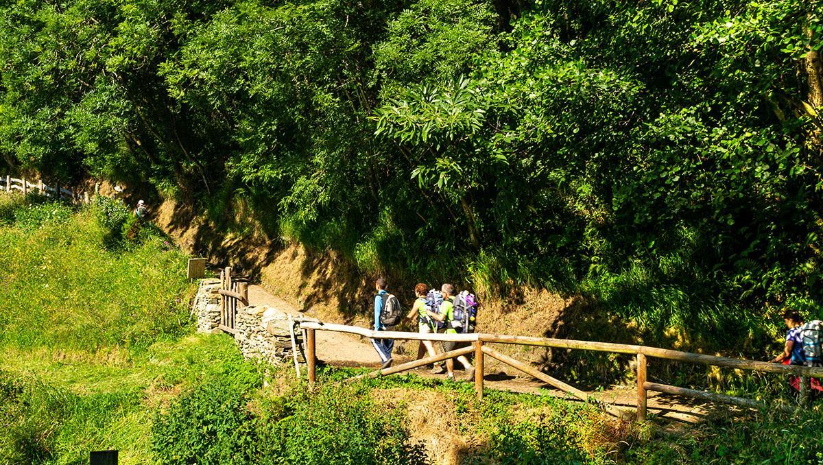 Peregrinos en las proximidades de regueiro de Robleu, Camino Primitivo, Asturias