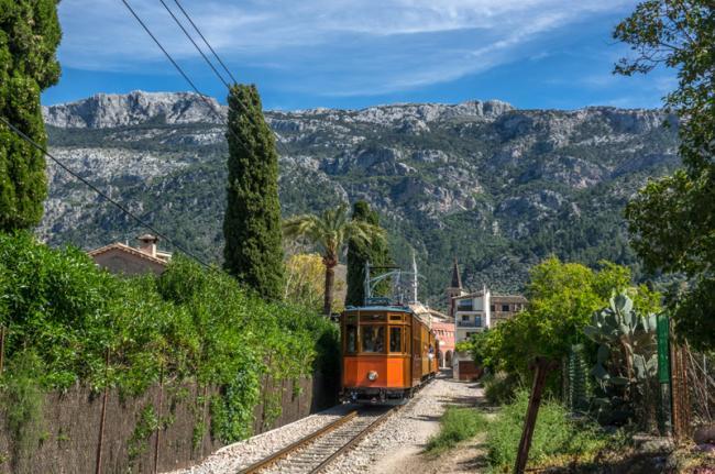 Tren a Sóller, Mallorca, Baleares, España