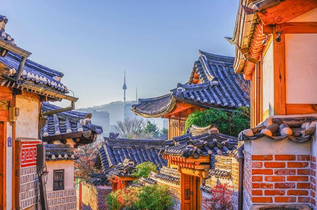 Pueblo de 'hanoks' de Bukchon, Seúl, Corea del Sur