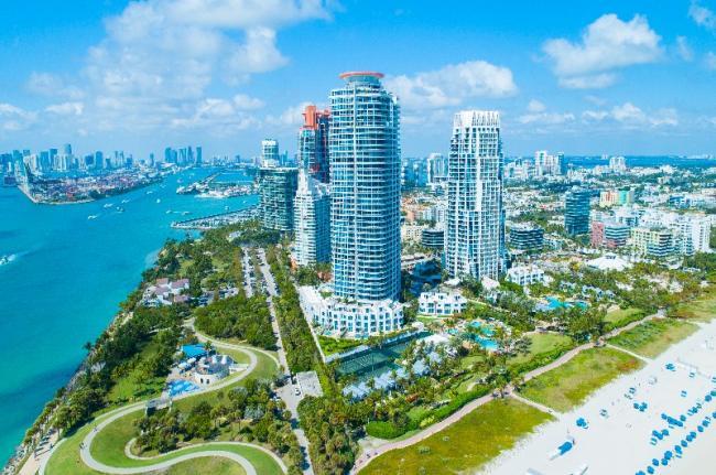 Vista aérea de Miami, Miami, Estados Unidos.