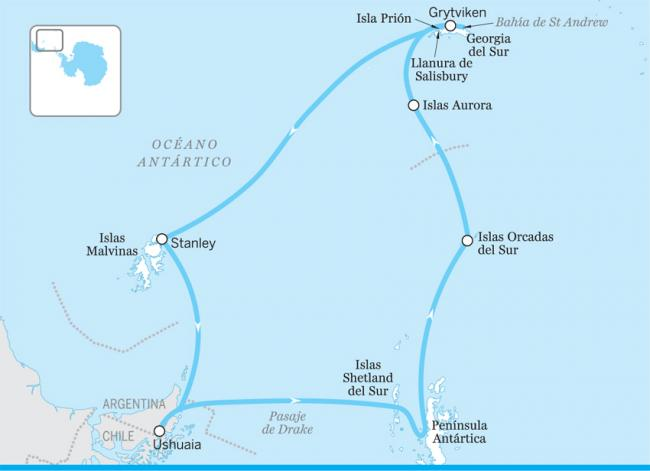 La península, Georgia del Sur y las islas Malvinas, Antártida